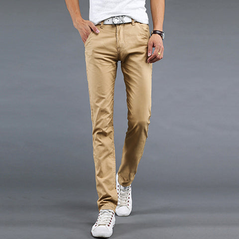 Brand mens pants khaki fashion men's pants casual cotton man pants supply fit straight trouserss black and khaki - CelebritystyleFashion.com.au online clothing shop australia
