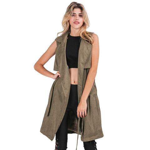 Army Green Suede Trench Coat Vest Waistcoat Jacket - CELEBRITYSTYLEFASHION.COM.AU - 1