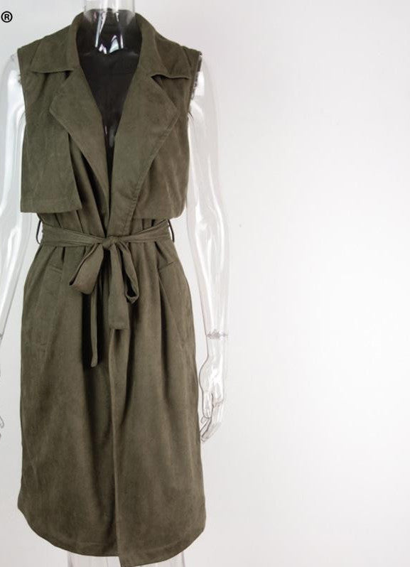 Army Green Suede Trench Coat Vest Waistcoat Jacket - CELEBRITYSTYLEFASHION.COM.AU - 5