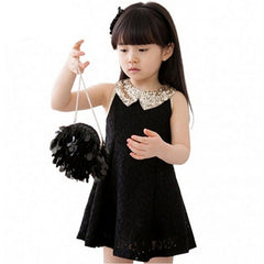 New Fashion Girls Clothes Tutu Dress Kids Clothing Princess Baby Girl Dress Sequins Collar Black White Party Dresses - CelebritystyleFashion.com.au online clothing shop australia