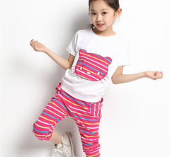 Girls Clothing Sets Kids Baby Girls Clothes Suit Children Short Sleeve Striped T-Shirt +Pants roupas infantil meninas - CelebritystyleFashion.com.au online clothing shop australia