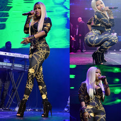 Nicki Minaj Jumpsuits Sexy Vintage Chain Pattern Print Clothing Women Patchwork Bodysuit Party Romper Playsuit Bandage Jumpsuits - CelebritystyleFashion.com.au online clothing shop australia