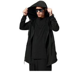 \Fashion New Black Cloak Hooded Male Streetwear Hip Hop Long Hoodies Clothing Men Outerwear Cool Man - CelebritystyleFashion.com.au online clothing shop australia