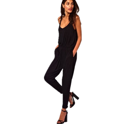 f312c17de430f Women Sleeveless Spaghetti Strap Full Length Romper Women Jumpsuits Loose  Casual High Street Overalls Plus Size