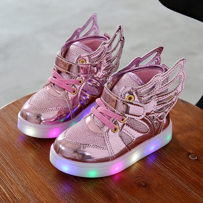 Children shoes with light Fashion glowing sneakers boys little girls shoes  wings canvas flats spring kids 634dd04b4158