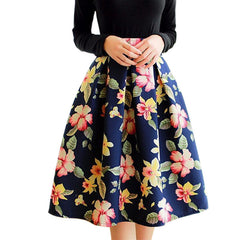 High Waist Pleated Midi Skirt Women Floral Print Long Skirts Summer - CelebritystyleFashion.com.au online clothing shop australia