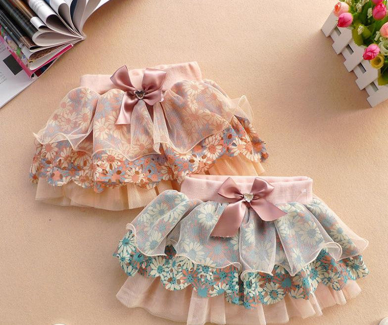 aab739dac5 High Quality 2-6Y Cute Baby Kids Girl Bow Floral Skirt Floral Tulle Tutu  Skirts