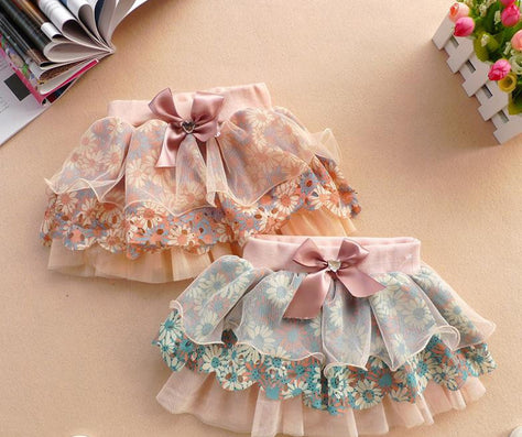 High Quality 2-6Y Cute Baby Kids Girl Bow Floral Skirt Floral Tulle Tutu Skirts Child Clothes Girls Skirts - CelebritystyleFashion.com.au online clothing shop australia