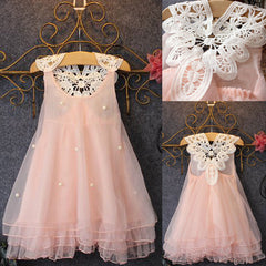 Xmas Chiffon Toddler Baby Girls Party Sleeveless Dress Pearl Lace Tulle Gown Formal Tutu Dress Fancy Backless Dress 3-7Y PINK - CelebritystyleFashion.com.au online clothing shop australia