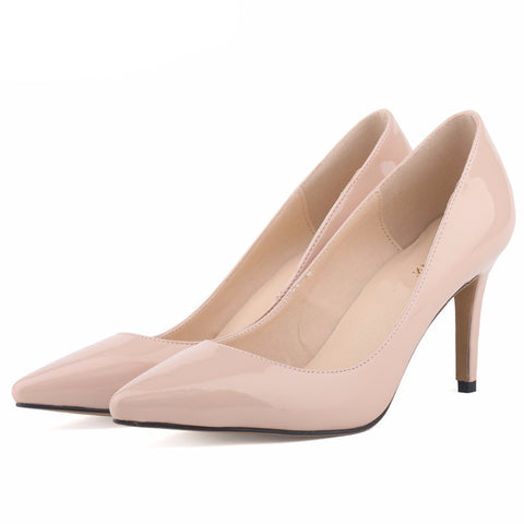 Spring summer New fashion star pointed toe solid high heels shoes nightclub women's pumps thin heels slip on shoes size 35-42 - CelebritystyleFashion.com.au online clothing shop australia