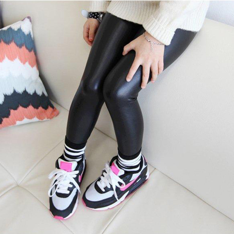 Black / 4Baby Girl Legging Fashion Full Length Leggings Faux PU Leather Skinny Pants Girl Leggings Children Pants 66