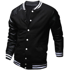 Cool College Baseball Jacket Men Fashion Design Black Pu Leather Sleeve Mens Slim Fit Varsity Jacket Brand Veste Homme Xxl - CelebritystyleFashion.com.au online clothing shop australia
