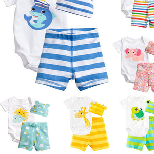 3Pcs Baby Girls Clothing Sets Summer Toddler Baby Boy Rompers Short Sleeve Newborn Baby Clothes Cotton Roupas Infant Jumpsuits - CelebritystyleFashion.com.au online clothing shop australia