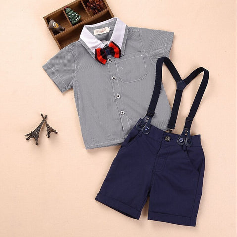3 pieces summer boys clothing sets gentleman set baby boy clothes shirt and suspender trousers - CelebritystyleFashion.com.au online clothing shop australia