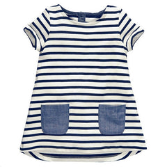 New Brand 2-7 Years Girls Short Sleeve Blue Stripe Summer Dress Cotton Casual Dresses Kids Clothing KF047 - CelebritystyleFashion.com.au online clothing shop australia