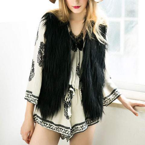 Elegant Faux Fur Vest Jacket Many Colors Available - CELEBRITYSTYLEFASHION.COM.AU - 1