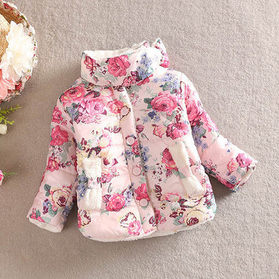 Children Baby Girl Floral Stand Collar Winter Long Sleeve Bow Coat Outerwear 2-6Y - CelebritystyleFashion.com.au online clothing shop australia