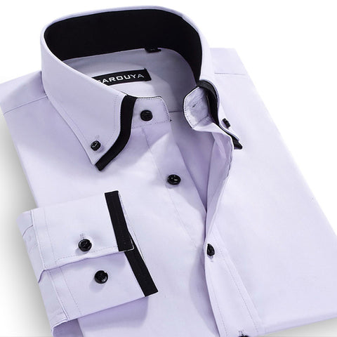 Autumn Men's Double-collar Long-Sleeved Solid Dress Shirts Cotton Blend Classic-fit Button Down Business Formal Plain Shirt - CelebritystyleFashion.com.au online clothing shop australia