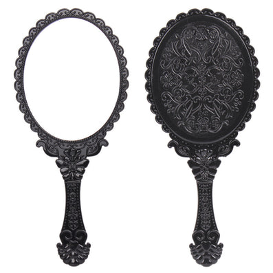 Vintage Cosmetic Mirror Plastic Makeup Mirror Hand Mirror Cute Girl Black Hand Shank Mirror