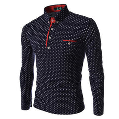 New Brands Mens Dot Long Sleeve POLO Shirts Brands Long Sleeve Camisas Polo Stand Collar Male Polo Shirt Size 3XL. KJHB - CelebritystyleFashion.com.au online clothing shop australia
