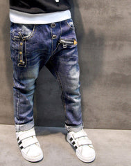 Boys pants jeans Fashion Boys Jeans for Spring Fall Children's Denim Trousers Kids Dark Blue Designed Pants - CelebritystyleFashion.com.au online clothing shop australia
