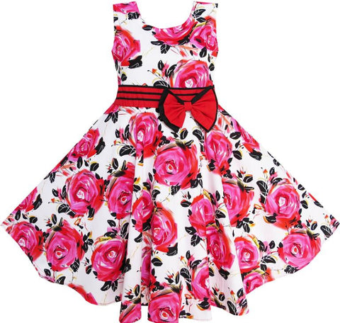Flower Girl Dress Red Rose Party Summer Sundress Cotton Child Clothing Summer Princess Wedding Size 6-12 - CelebritystyleFashion.com.au online clothing shop australia