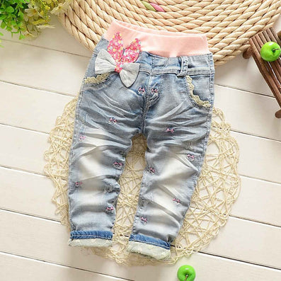 Baby Girls Washed Vintage Embroidery Bow Cartoon Lace Denim Jeans Full Length Pants Kids Trousers S2750 - CelebritystyleFashion.com.au online clothing shop australia