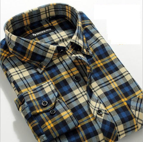 Fashion Casual Grid long-sleeved mens plaid shirts, Fashion Leisure styles lim fit flannel shirt - CelebritystyleFashion.com.au online clothing shop australia