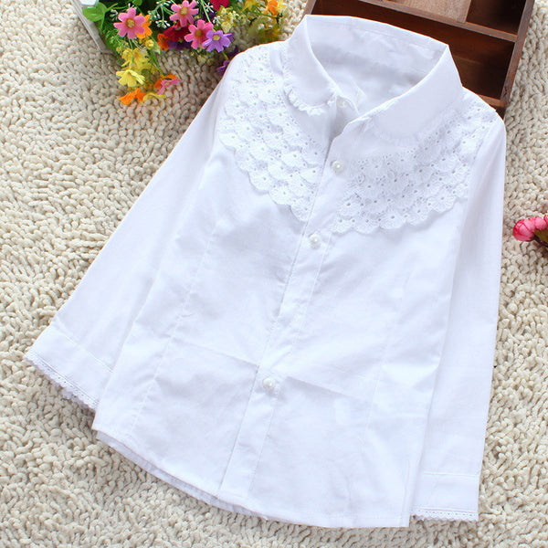 6ce02d55 Girls White Blouse 100% Cotton Lace School Girl Blouse For Girls Long  Sleeve Shirts Spring