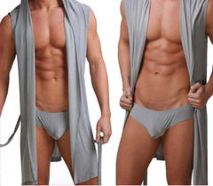 Men's robes comfortable casual bathrobes sleeveless Viscose sexy Hooded robe homewear mens sexy sleepwear lounge clothes - CelebritystyleFashion.com.au online clothing shop australia
