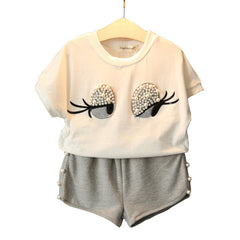 Pearl Girls Clothes Set Lovely Long Eyelashes Toddler Girl tops + Pants Girls Suit Kids Clothes - CelebritystyleFashion.com.au online clothing shop australia