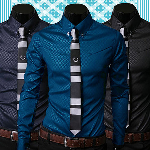 Fashion Men Argyle Luxury Business Style Slim Fit Long Sleeve Casual Dress Shirt - CelebritystyleFashion.com.au online clothing shop australia