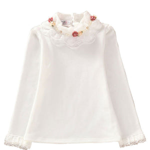 Fashion Children kids girls blouses Baby girls long sleeved school lace white shirts tops&tees TD014 - CelebritystyleFashion.com.au online clothing shop australia