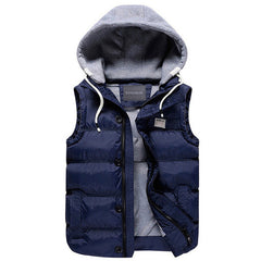 Men's Thicken Slim Casual Vests Hat Detachable Vest For Winter Youth Trend Big Plus Size M-5XL Five Colors Colete MWB086 - CelebritystyleFashion.com.au online clothing shop australia