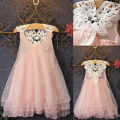6e4c3a90cfb9a Pageant Toddler Baby Girls Party Dress Pearl Lace Tulle Gown Formal Dress  2-7Y