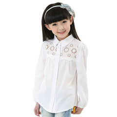 Spring New Arrival Kids Clothes Brand Girls White Blouse Children's Fashion Long-sleeved Cotton Girls Blouse - CelebritystyleFashion.com.au online clothing shop australia