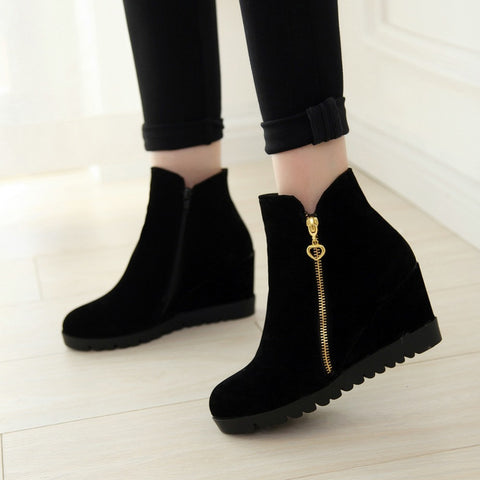 Fashion women winter ankle boots Women hidden wedges boots Design zip Round toe Women western boots shoes woman - CelebritystyleFashion.com.au online clothing shop australia