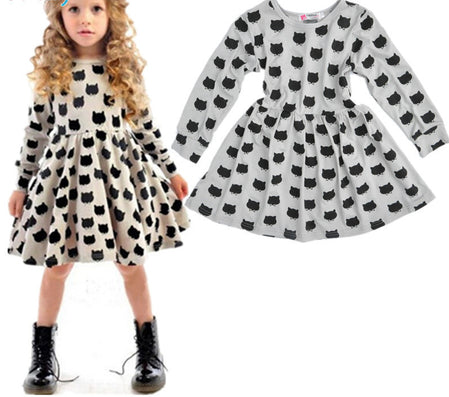 baby girl autumn dress children black cat long sleeve clothes kids casual cotton dot clothing autumn princess girls dresses - CelebritystyleFashion.com.au online clothing shop australia