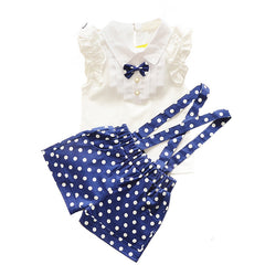 fashion bow t shirt+dot overalls two pieces baby toddler girl clothing clothes bodysuits new born cotton set - CelebritystyleFashion.com.au online clothing shop australia