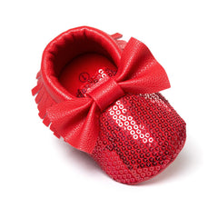red sequins baby bow moccasins Bling Bling pu leather glitter baby girls dress shoes toddler soft sole moccs - CelebritystyleFashion.com.au online clothing shop australia
