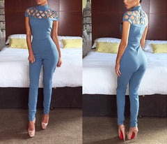 High neck cut out bandage bodysuits one piece sets sexy Long Sleeve hollow out shoulder Ladies Jumpsuits - CelebritystyleFashion.com.au online clothing shop australia