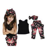 Summer style Girls Fashion floral casual suit children clothing set sleeveless outfit +headband new kids clothes set - CelebritystyleFashion.com.au online clothing shop australia