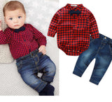 baby boys clothing set plaid rompers with bowtie + demin pants fashion baby boy clothes newborn baby clothes - CelebritystyleFashion.com.au online clothing shop australia