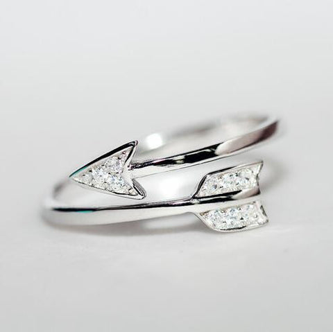925 Sterling Silver Rings For Women Girl Cupid Arrow Crystal Zircon Rings Adjustable Rings - CelebritystyleFashion.com.au online clothing shop australia