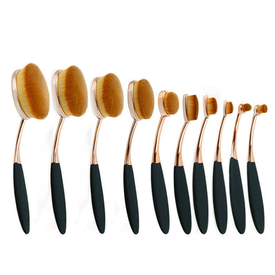 GOLD Toothbrush 10PCS Makeup Brush Set Artist Oval Puff Cream Foundation Contour Blush Powder Beauty Kit Kim Kardashian Style - CelebritystyleFashion.com.au online clothing shop australia