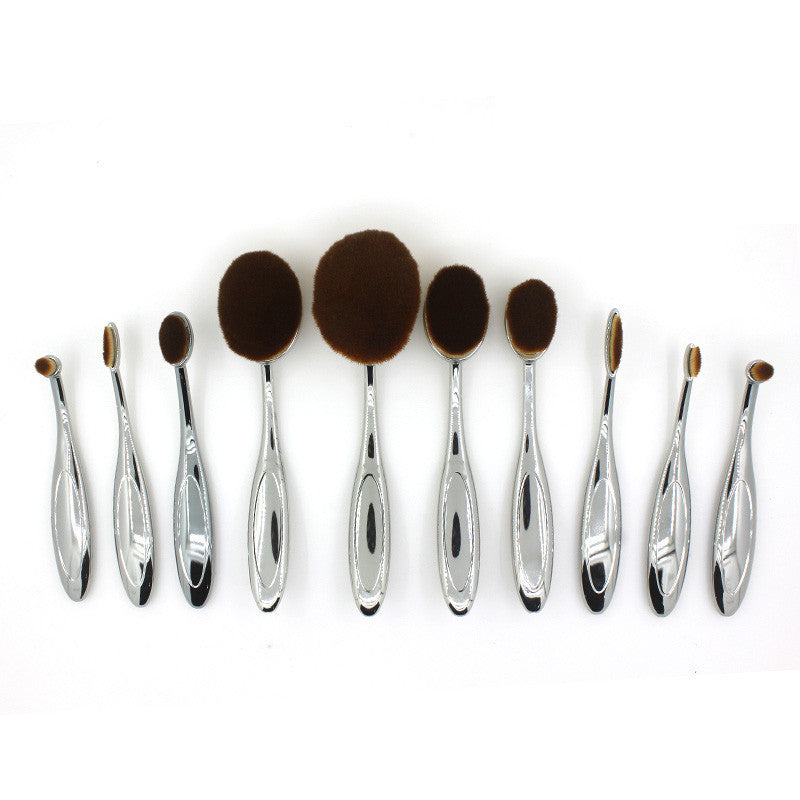 GOLD Toothbrush 10PCS Makeup Brush Set Artist Oval Puff Cream Foundation Contour Blush Powder Beauty Kit Kim Kardashian
