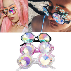 Fashion Retro Round Kaleidoscope Sunglasses Men Women Designer Eyewear Kaleidoscope lens Glasses oculos de sol - CelebritystyleFashion.com.au online clothing shop australia