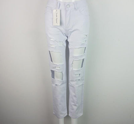Ripped Jeans Pants Vintage Straight Jeans Mid Waist - CelebritystyleFashion.com.au online clothing shop australia