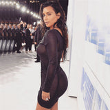 Kim Kardashian Deep V-Neck Sheer Draw String Bodycon Dress - CelebritystyleFashion.com.au online clothing shop australia