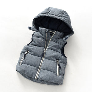 baby boy denim vest fashion child thickening vest with a hood cotton-padded winter cotton waistcoat knitted lining vests - CelebritystyleFashion.com.au online clothing shop australia